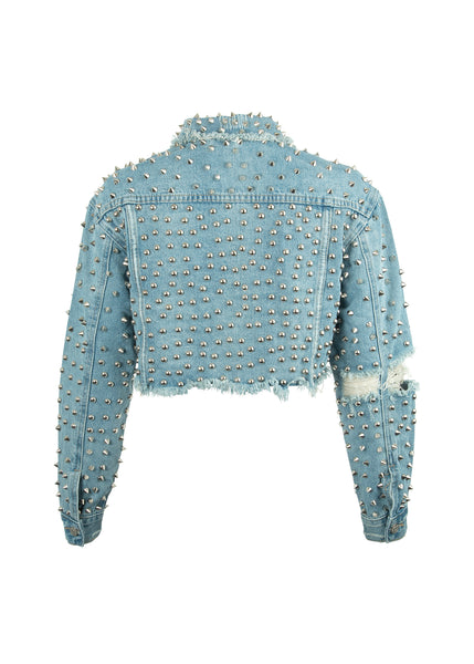 cropped jean jacket with studs