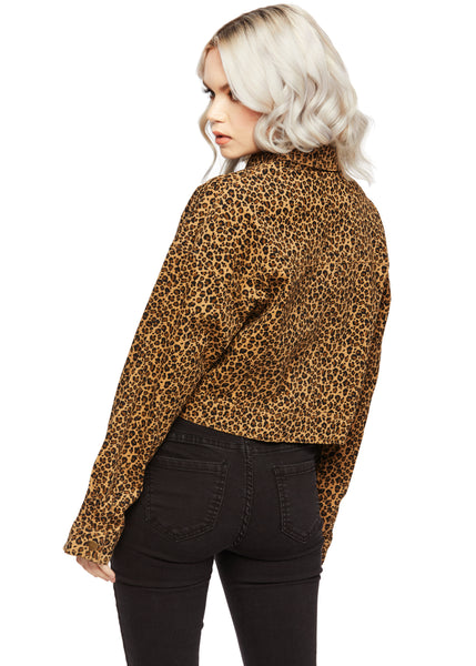 cropped leopard print coat
