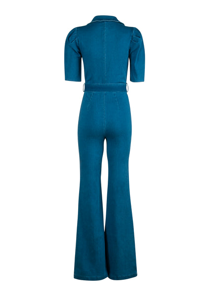 flared  jeans jumpsuit