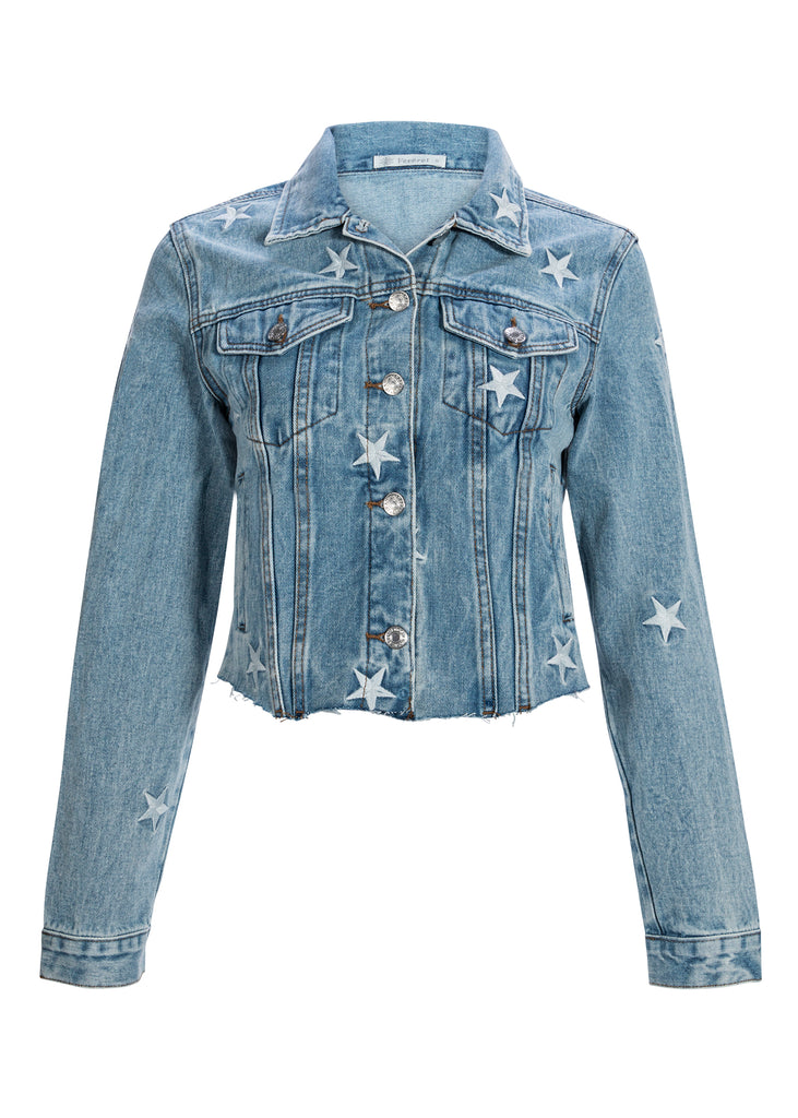 Cropped Denim Jacket with Star Embroidery