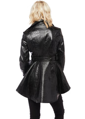 faux leather tail coat