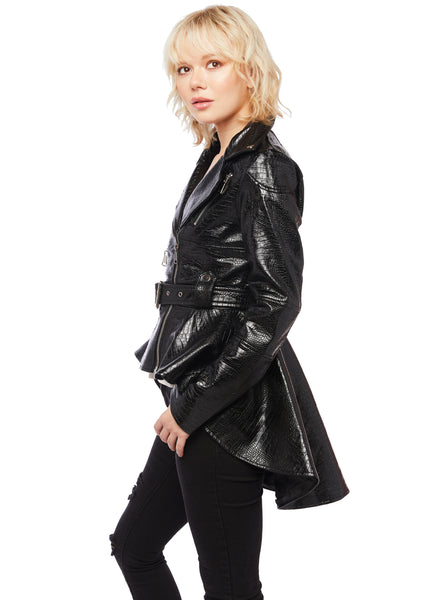 faux leather tail jacket