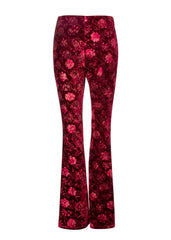floral red velvet bell bottom pants
