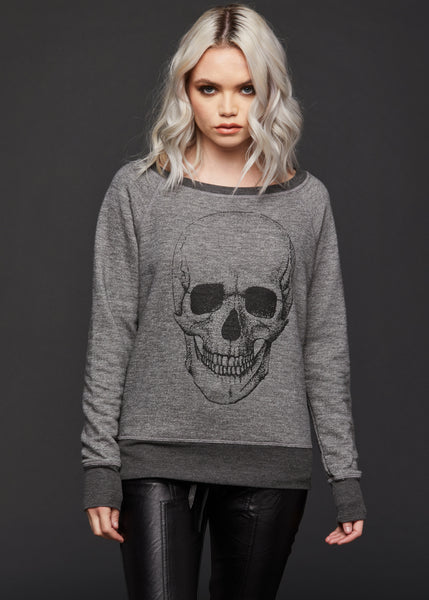 gray skull sweatshirt