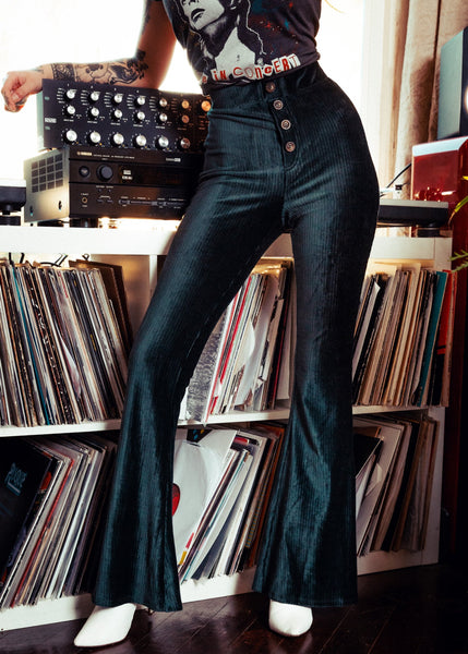 green velvet bell bottoms