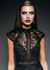 high neck black lace dress