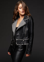houndstooth leather jacket