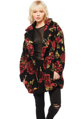floral faux fur coat