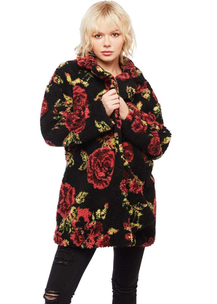 floral teddy coat