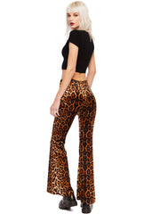 Animal print bell bottom pants