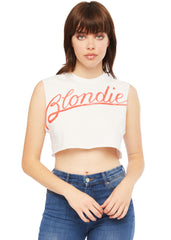 White cropped Blondie Band tee