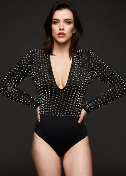 Studded black bodysuit