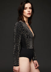 Longsleeve bodysuits with rivets