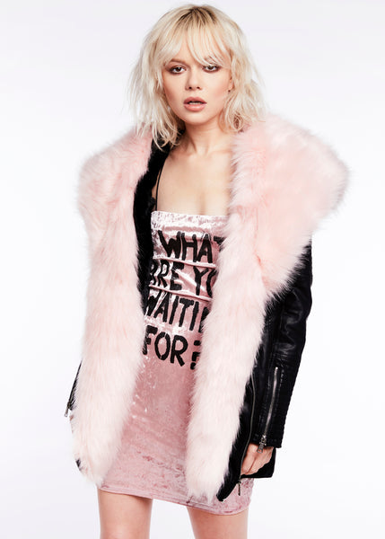 Sink the Pink Faux Leather Jacket with Pink Faux Fur