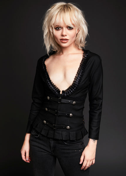 Leather and Lace Jacket with Buckles