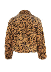yellow cheetah print faux fur jacket