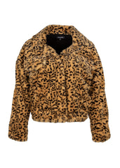 yellow leopard print faux fur jacket