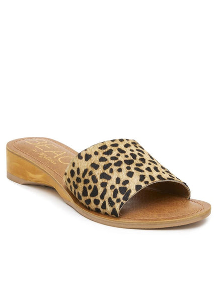 leopard print leather sandal