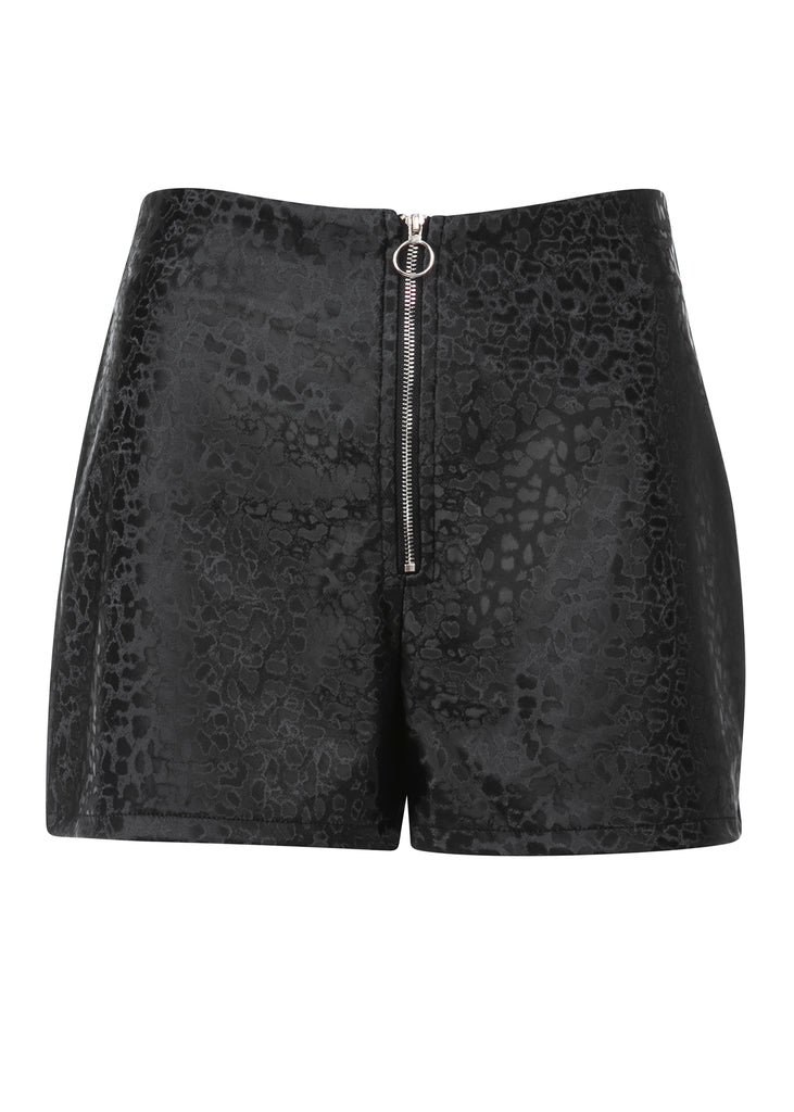 leopard print leather shorts