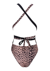 Animal Print Deep V Swimsuit with Tie Belt