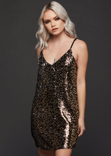 leopard print sequin dress