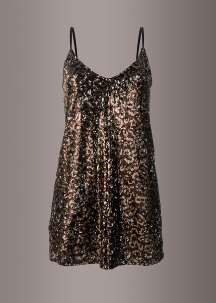 Leopard Animal Print Sequin Slip Dress