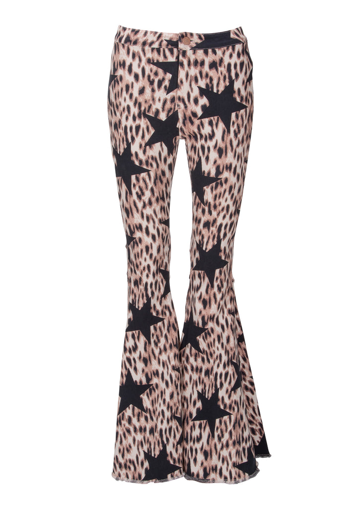 leopard and star print bell bottoms