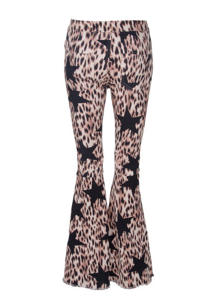 leopard and star print flares