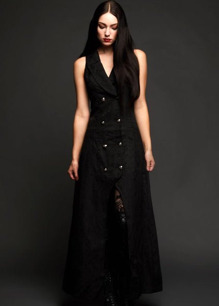black sleeveless gothic coat