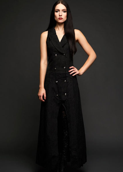 black sleeveless goth coat