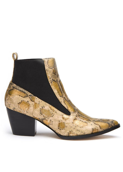 metallic snakeskin booties