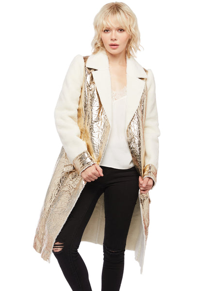 metallic teddy coat
