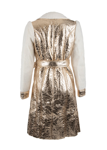 metallic sherpa coat