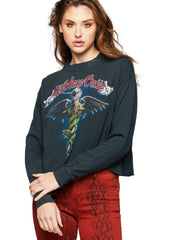 Motley Crue Cropped Long Sleeve Band Shirt by Daydreamer LA