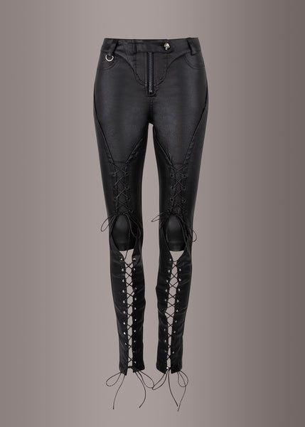 punk rave lace up leather pants
