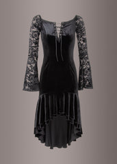 punk rave black velvet dress