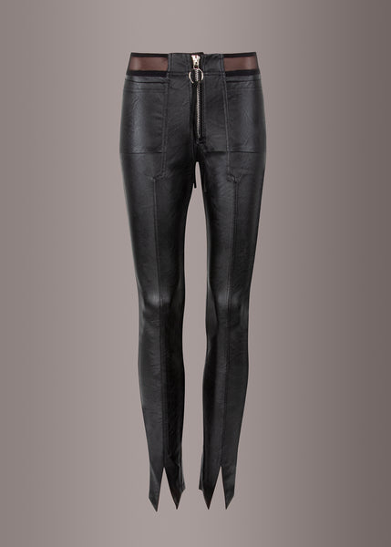 punk rave leather pants with zipper