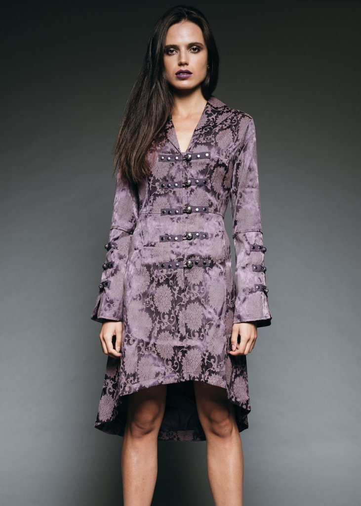 purple brocade goth coat
