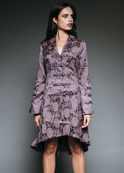 purple brocade gothic coat