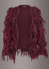purple fringe knit jacket