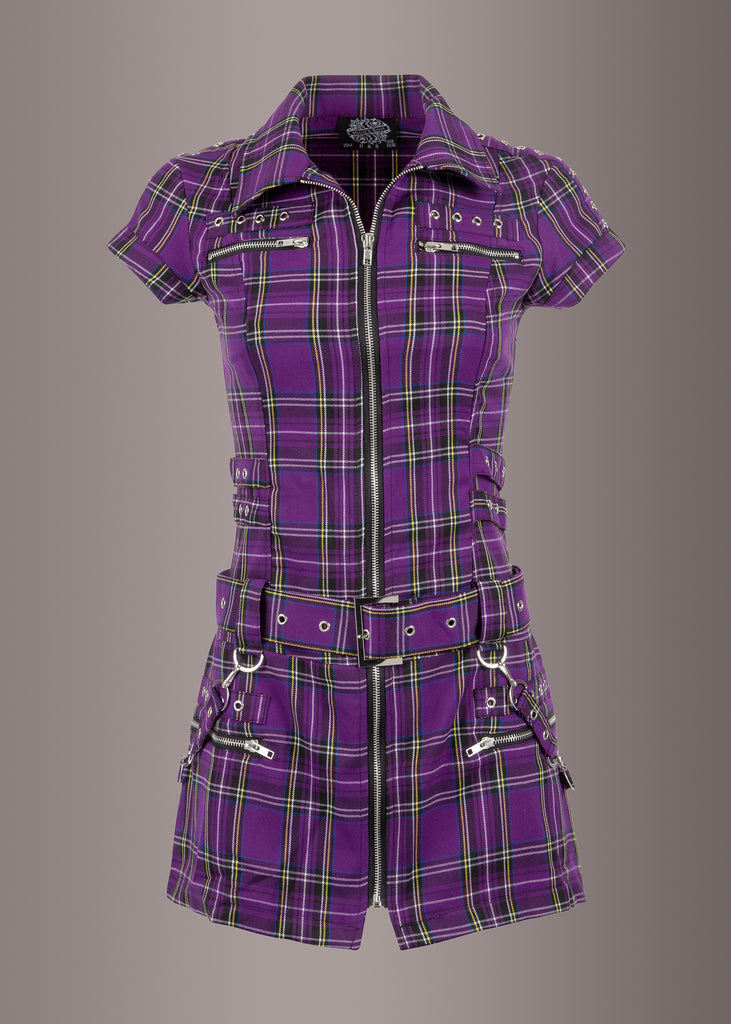 Purple Plaid Tartan Punk Mini Dress with Buckles and Lacing