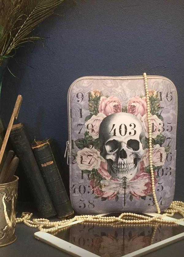 purple skull tablet case