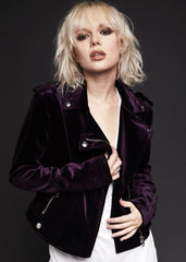 purple velvet biker jacket