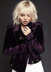 purple velvet moto jacket