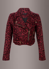 red animal print moto jacket