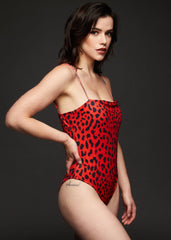 red animal print swimsuit