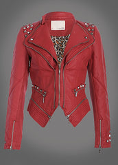 red moto jacket with studs