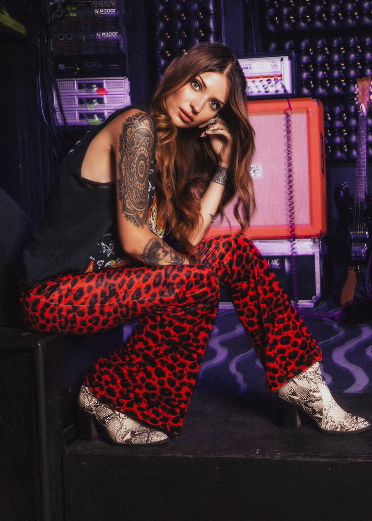 red leopard bell bottom pants