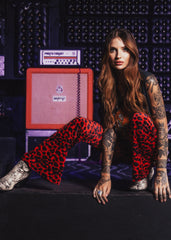 red leopard flare pants
