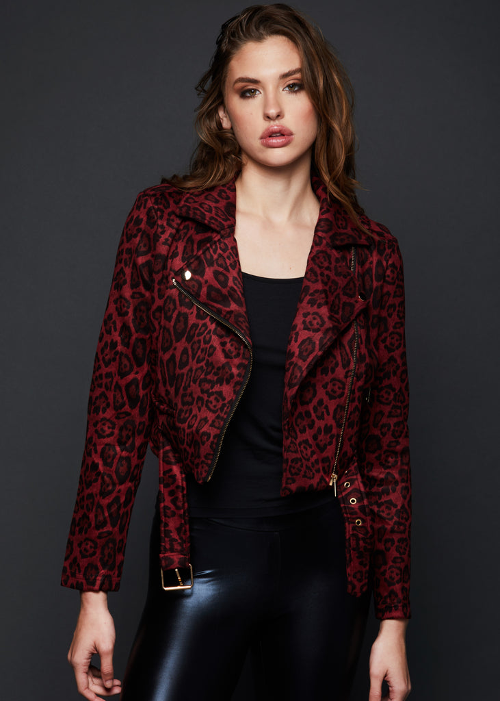 red leopard moto jacket